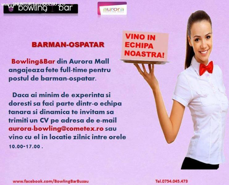 Angajari Barmani-Ospatari (fete) Bowling Airora Mall