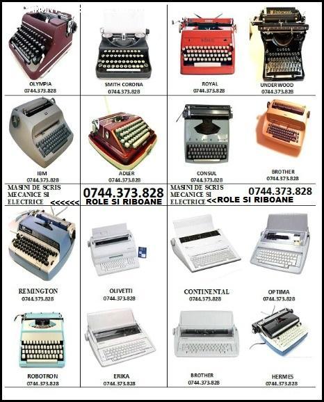 Riboane masini de scris mecanice si electrice.