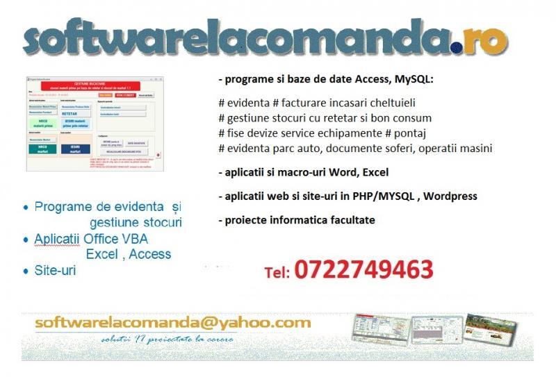 Software la comanda: stocuri, devize, facturi, aplicatii Exc