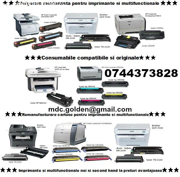 Cartuse toner si cerneala pentru imprimante, compatibile si