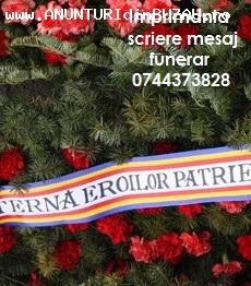 Imprimanta text banda coroana funerara