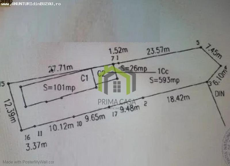 TEREN INTRAVILAN SI CASA IN ZONA 23AUGUST; S=593MP; D=12,5M;