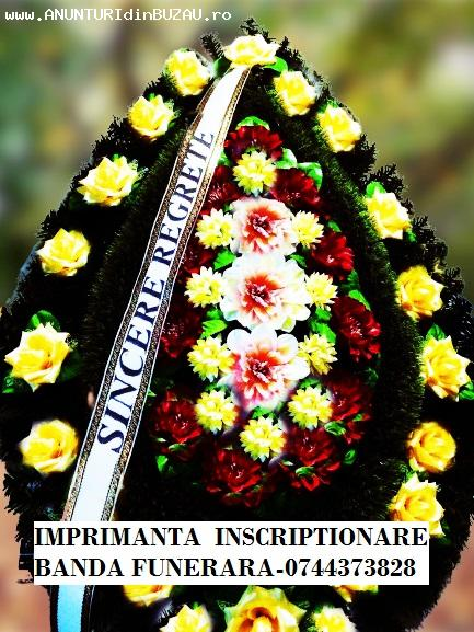Imprimanta mesaje panglici coroane flori.